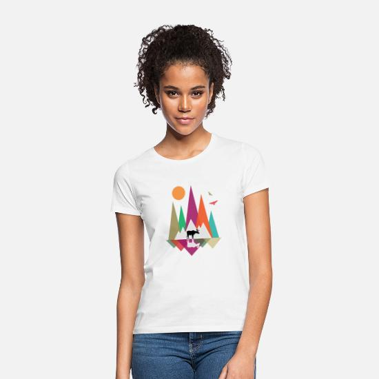 Chasseur T-shirts - Hipster Mountains & Moose - T-shirt Femme blanc