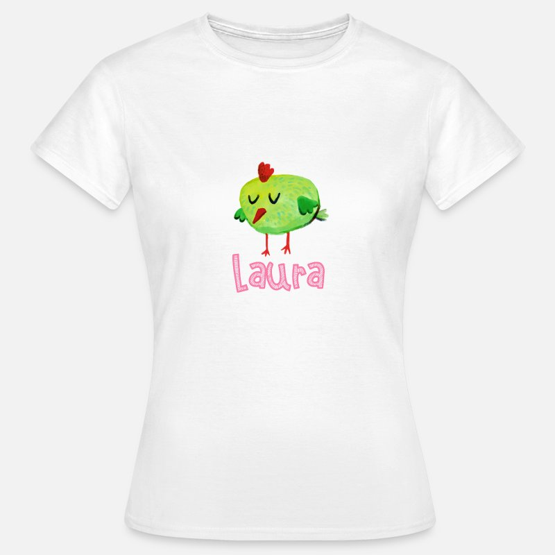 Christmas T-Shirts - laura My name is gift babies bird - Women's T-Shirt white
