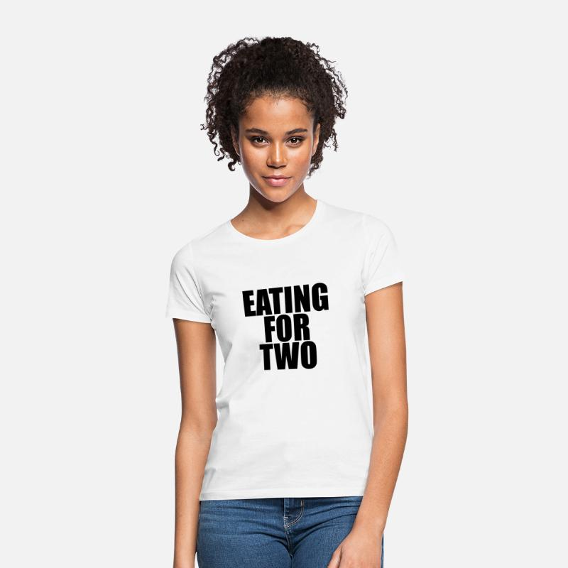 Two T-Shirts - Eating for two - Vrouwen T-shirt wit
