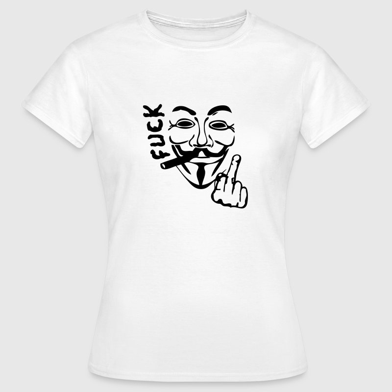 anonymous masque mask cigare fumer fuck2 - Dame-T-shirt