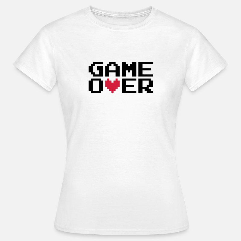 8 Bits T-shirts - Game over Coeur - T-shirt Femme blanc