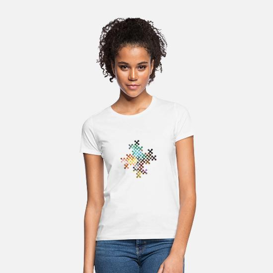 Blatt T-Shirts - points-edges Herbstkurve - Frauen T-Shirt Weiß