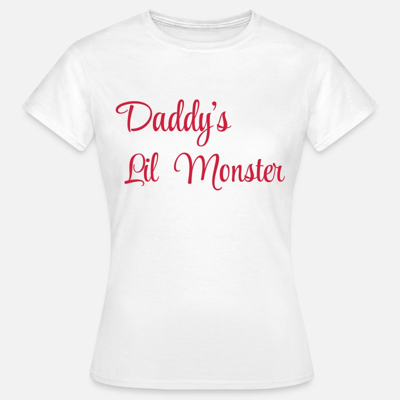 Monster T-shirt - Daddy's little monster - Dame T-shirt hvid