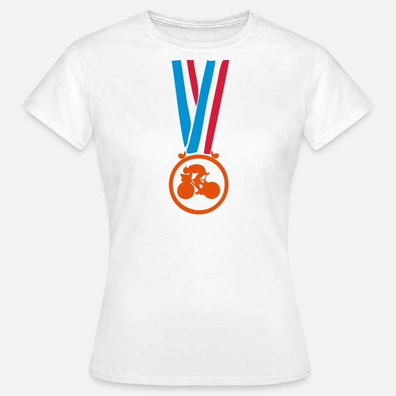 Champion T-shirts - champion medaille cyclisme velo - T-shirt Femme blanc
