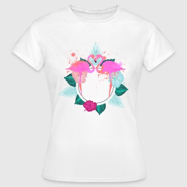 flamants roses de conception tropicale - T-shirt Femme