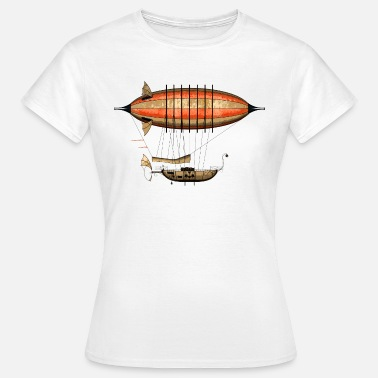 Steam Punk Vintage Steampunk Airship T-Shirt - T-skjorte for kvinner