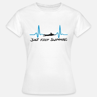 Swim Just keep swimming, Swimming Heartbeat, ECG - Koszulka damska