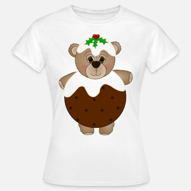 Pudding Teddy Bear Dressed as Christmas Pudding - Women's T-Shirt