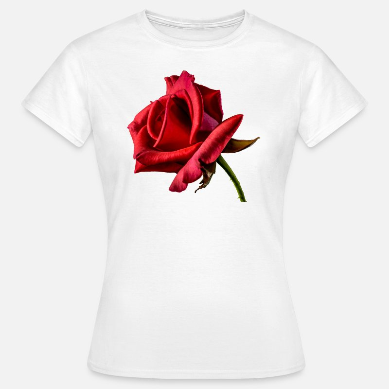 Roos T-Shirts - Rode roos - Vrouwen T-shirt wit
