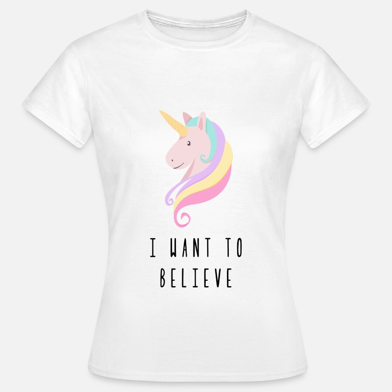 Cheval T-shirts - Licorne I Want To Believe - T-shirt Femme blanc