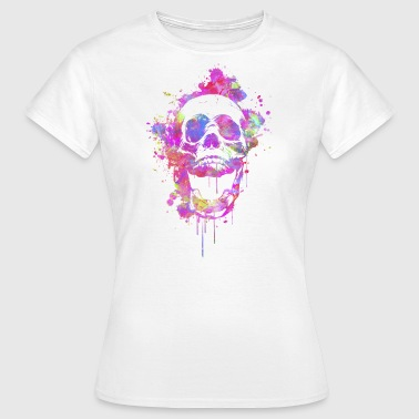Abstrakt Cool & Trendy Akvarell Skull  - T-shirt dam