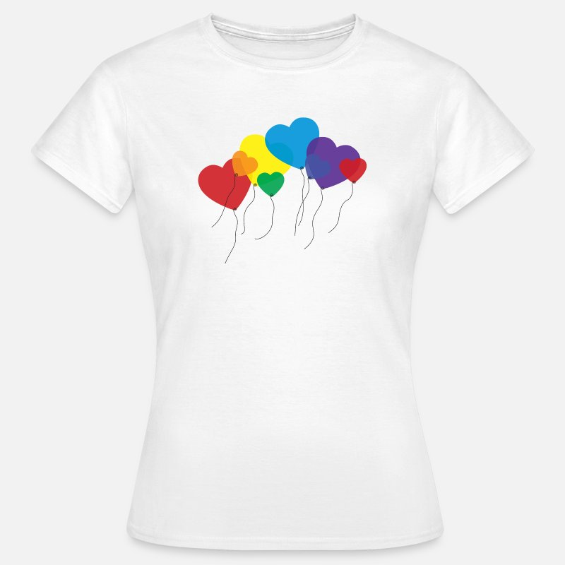Balloon T-Shirts - balloon hearts rainbow - Women's T-Shirt white
