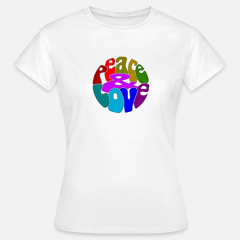 Flower Power T-Shirts - Peace Love_N2 - Vrouwen T-shirt wit