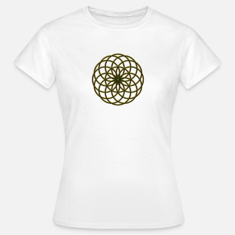 Protective Symbol T-Shirts - Flower of Life - Seed of Life - Tube Torus, digital, gold, energy, symbol, protection, powerful, icon - Women's T-Shirt white