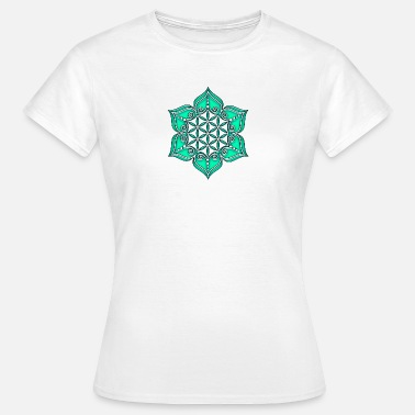Buddhisme Flower of life, Lotus - Flower,  green, Symbol of perfection and balance - Dame-T-shirt