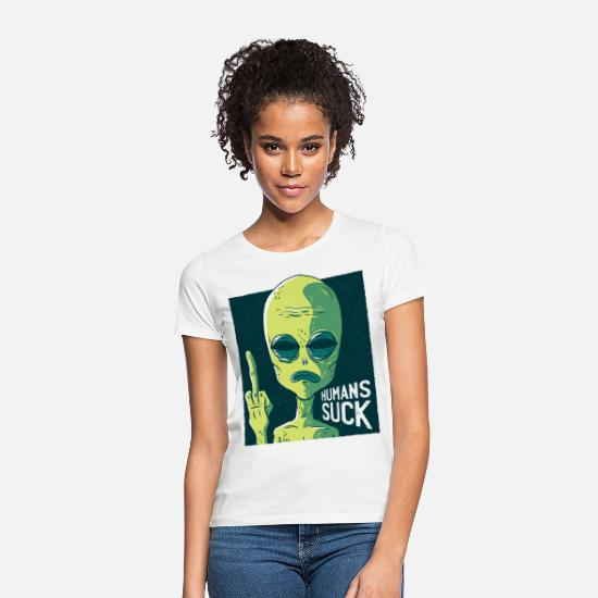 Wijsvinger T-shirts - Alien - Humans Suck - Funny motive - Vrouwen T-shirt wit