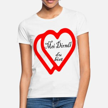 Hartmeisje MEI DIRNDL YOU ARE Love Declaration Herzmadl Glück - Vrouwen T-shirt