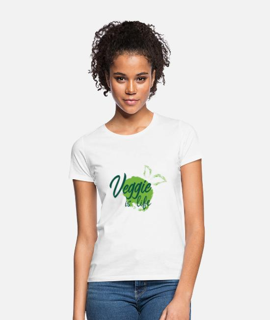 Gift T-shirts - veggie is leven - Vrouwen T-shirt wit