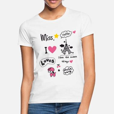 Slogan badges_paris Little Girl Miss Teen sta coeur rose - T-shirt Femme