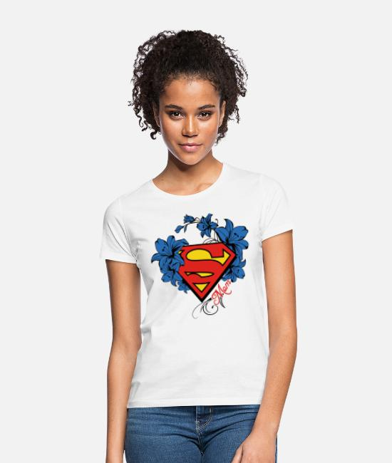 Super T-shirts - Superman Super Mom Flowers Red Frauen T-Shirt - T-shirt Femme blanc
