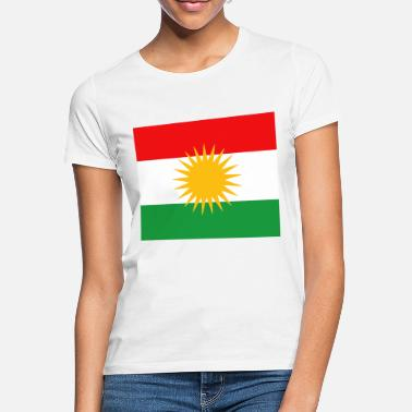 Donna T-SHIRT-kurdistane-con stampa bandiera-S fino XL-NERO-Kurdistan
