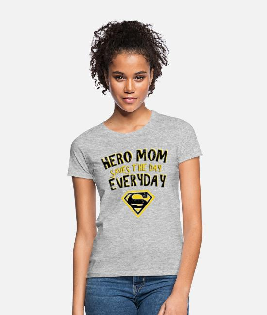 Super T-shirts - Superman Super Hero Mom - T-shirt dam gråmelerad