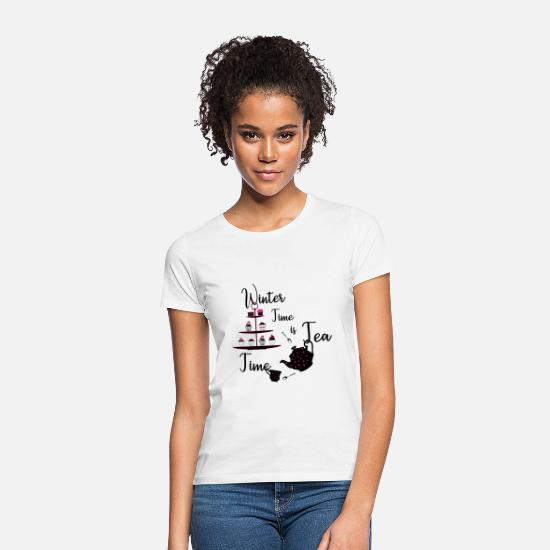 Wintersport T-Shirts - Winter Time is Tea Time - Frauen T-Shirt Weiß
