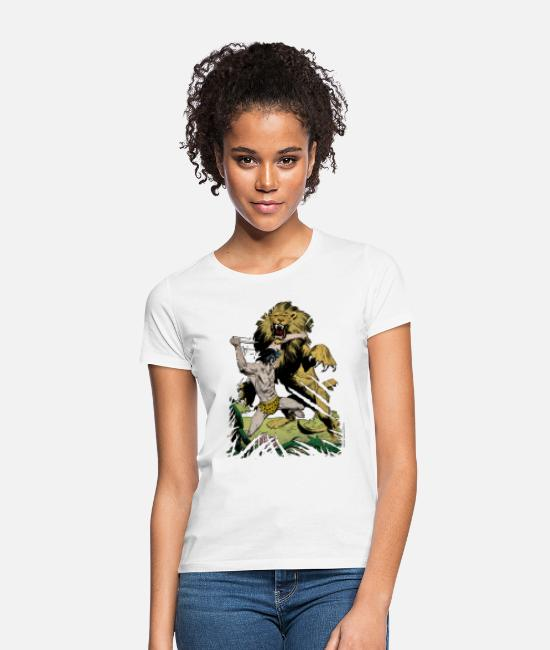 Nature T-Shirts - Tarzan and a wild lion - Women's T-Shirt white
