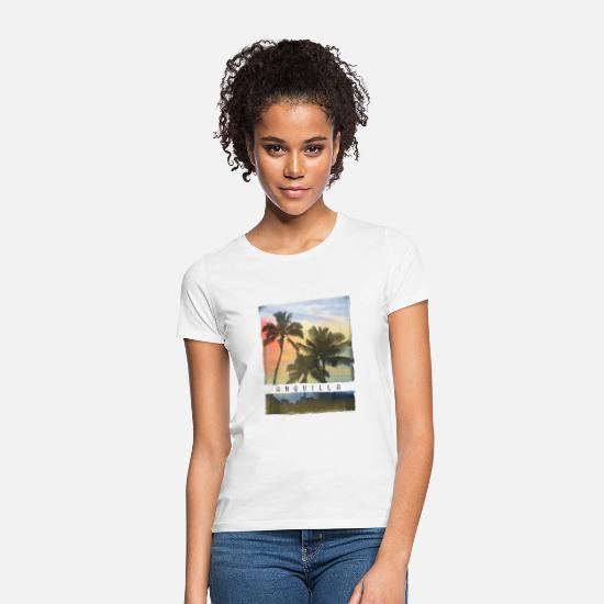 Nødstedte T-shirts - Anguilla Palm Tree Sunset Souvenir - T-shirt dame hvid