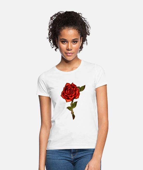 Graphic Art T-shirts - Red Rose - Vrouwen T-shirt wit