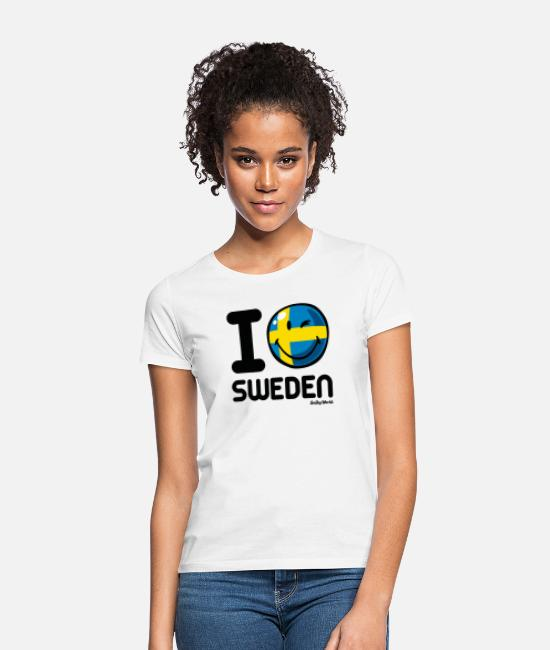 Love With Heart T-shirts - SmileyWorld I Love Sweden - T-shirt dam vit