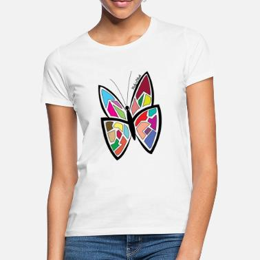 Butterfly Farverige sommerfugl-Stained-Butterfly - T-shirt dame
