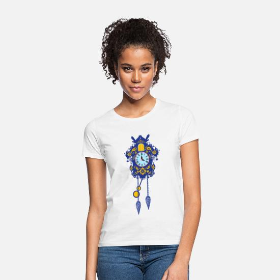 Black Forest T-Shirts - Blue decorative cuckoo clock cuckoo souvenir - Women's T-Shirt white