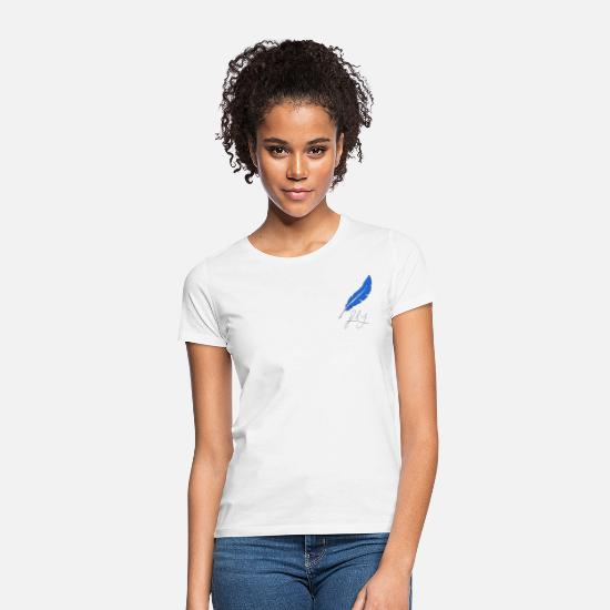 Feather T-Shirts - nightshirt & nightwear with a blue feather - Women's T-Shirt white
