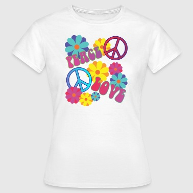 älskar fred hippie flower power - T-shirt dam
