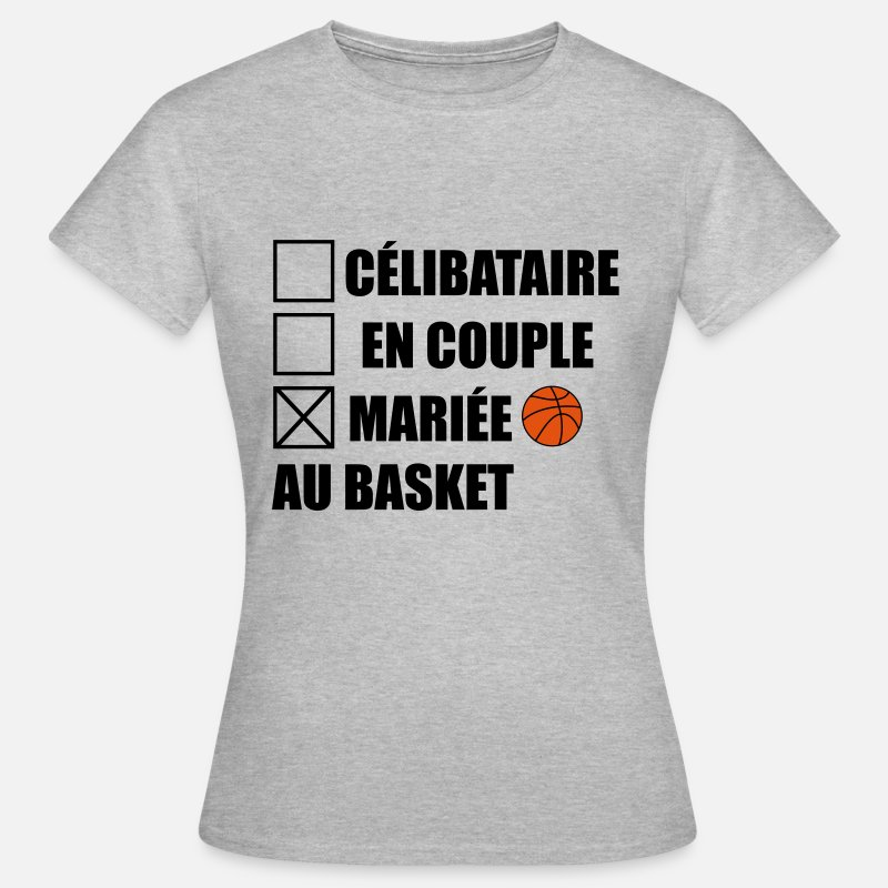Basketball T-shirts - mariée au basket,basketball - T-shirt Femme gris chiné