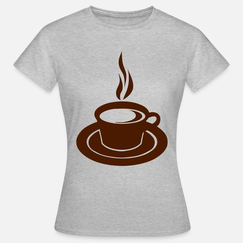 Cafe T-shirts - tasse cafe fumer chaud 2502 - T-shirt Femme gris chiné