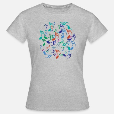 Jumble Colorful Music Notes - Women's T-Shirt