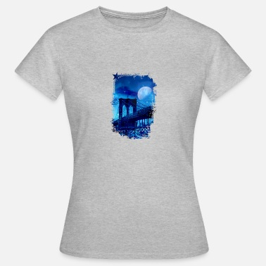 Brooklyn Bridge Brooklyn Bridge ved fuldmåne - Dame-T-shirt