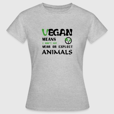 Vegan means i don't eat wear ore exploit Animals - Frauen T-Shirt
