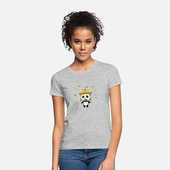 Culture T-Shirts - Panda Mexico Fiesta S8y7v - Women's T-Shirt heather grey
