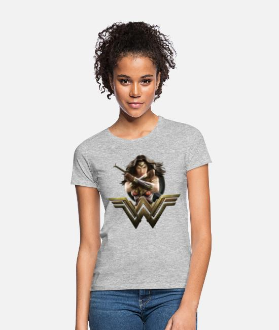 Wonder T-shirts - Bros Wonder Woman Crossed Arms Pose - T-shirt dam gråmelerad