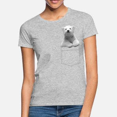 Polar little polar bear in breast pocket - Women's T-Shirt