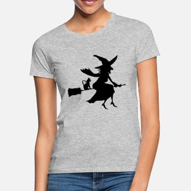 Hexe Witch With Cat - Frauen T-Shirt