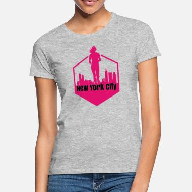 Nyc New York City Women Running Skyline Pink - Maglietta donna