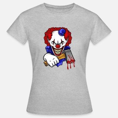 Bad Clown med Bloody Axe Horror T-Shirt  cd1eb9bcc06f5