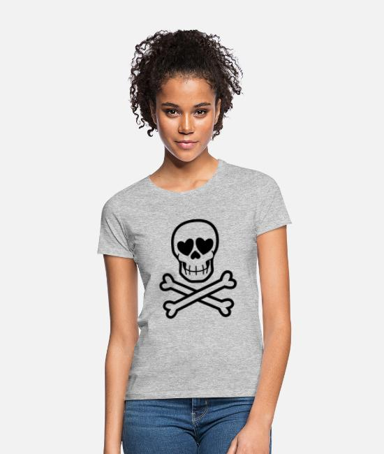 Heart T-Shirts - Eros & Thanatos Skull and Crossbones by Cheerful - Women's T-Shirt heather grey
