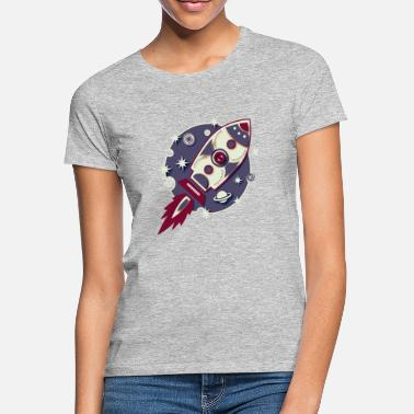 Space Planet Galaxy Graphic Rocket Planet Space Space Sci-Fi Retro - Women's T-Shirt