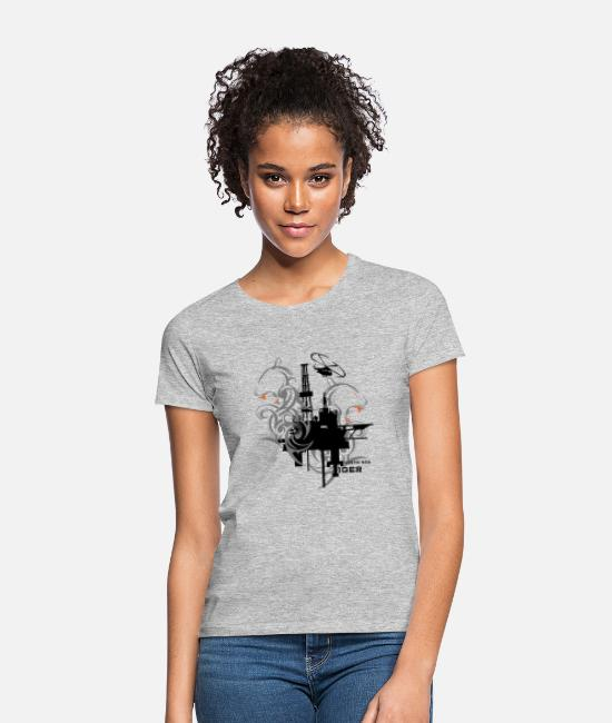 Rig T-Shirts - Oil Rig Oil field North Sea Tiger Aberdeen - Women's T-Shirt heather grey