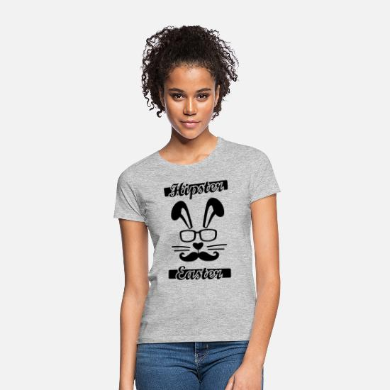 Easter T-Shirts - Hipster Easter, Happy Easter, bunny, rabbit - Women's T-Shirt heather grey